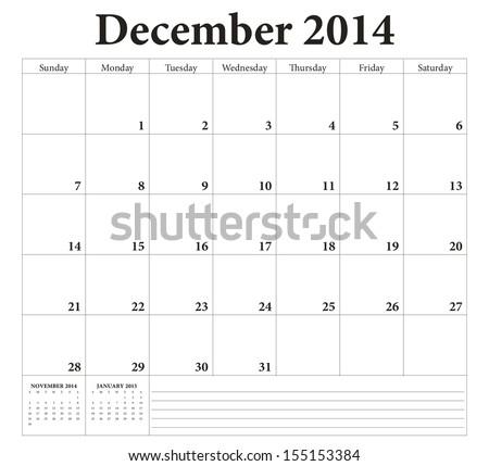 December 2014 -planning calendar. Weeks start on Sunday. - stock vector