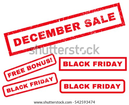 December Sale rubber seal stamp watermark with additional banners for Black Friday sales. Vector red signs. Caption inside rectangular banner with grunge design and dust texture.