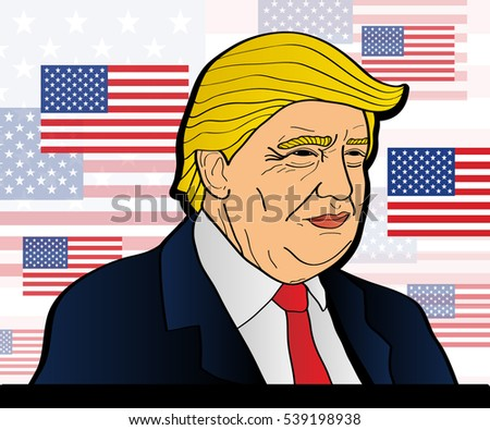 December 20, 2016: 45th President of the United States. Caricature portrait of Donald John Trump. Vector illustration. Editorial use only