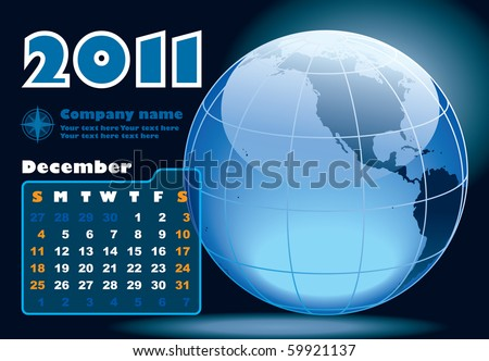 December - the Earth blue calendar for 2011, weeks starts on Sunday - stock vector