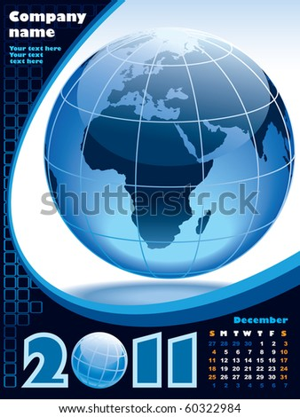 December - the Earth blue calendar for 2011, weeks starts on Sunday