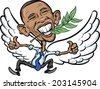 DECEMBER 10, 2009: Vector illustration of President Obama as a Dove of Peace accepted Nobel Peace Prize - stock photo
