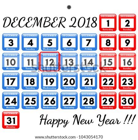 December 2018 Vector Template Monthly Calendar Stock Vector Hd