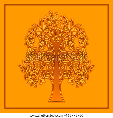 Deciduous tree. Vector logo template.