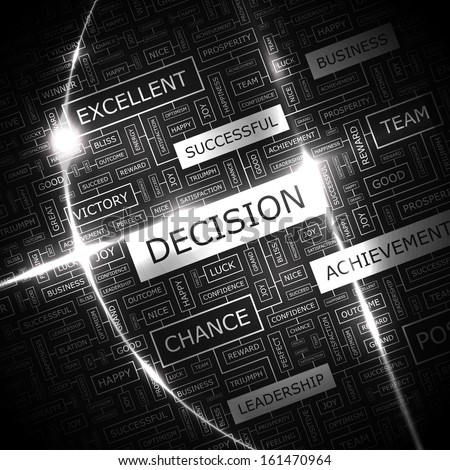 DECISION. Word cloud concept illustration. Wordcloud collage. Vector illustration.