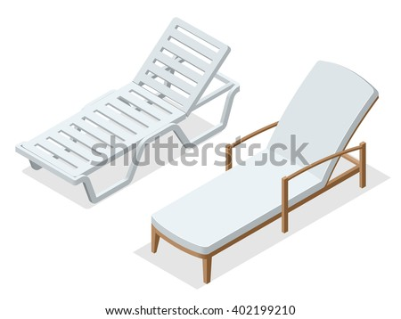 Deck chair, Beach chaise longue, Sun lounger, Deckchairs, Beach Chair, sunbed. Beach chairs isolated on white background. Wooden beach chaise longue Flat 3d isometric vector illustration. - stock vector