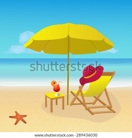 Deck chair with umbrella on idyllic tropical  sandy beach. Summer background. eps 10 vector illustration