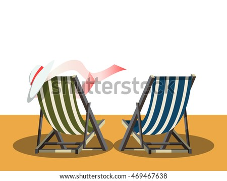 Cartoon deck chair stock images royalty free images vectors deck chairs on the beach cartoon colorful vector illustration voltagebd Gallery