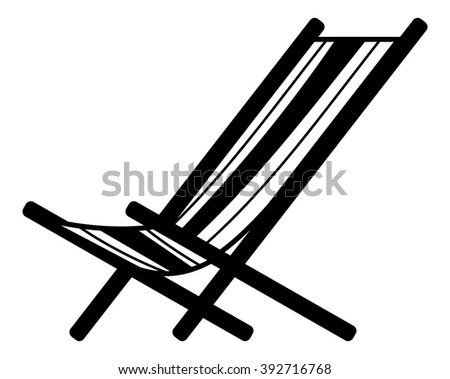 Deckchair silhouette isolated on a white background - stock vector