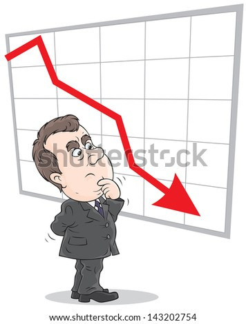 decline in rates - stock vector
