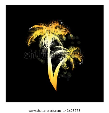 decline on the sea with palm trees - stock vector