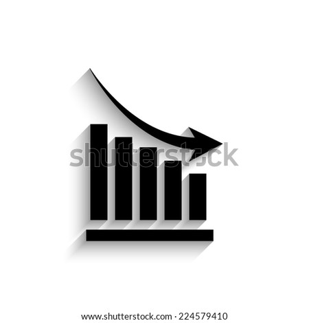 declining graph - black vector icon with shadow   - stock vector