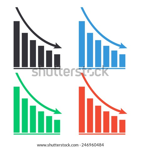 declining graph icon - colored vector illustration - stock vector