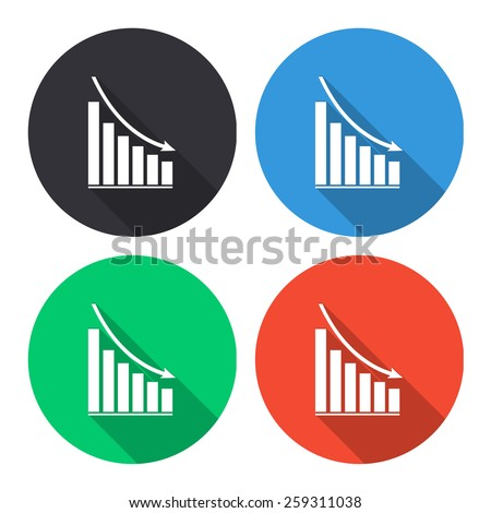 declining graph vector icon - colored(gray, blue, green, red) round buttons with long shadow - stock vector