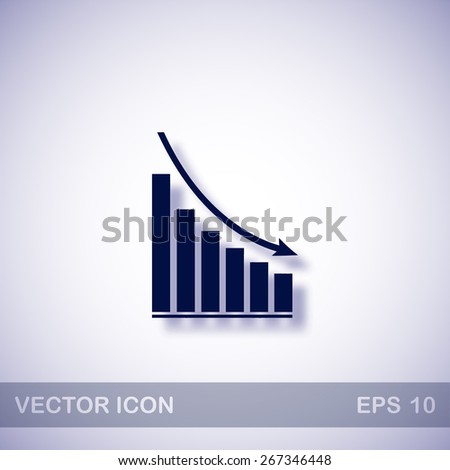 Declining graph vector icon - dark blue illustration with blue shadow - stock vector