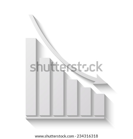 declining graph vector icon - paper illustration