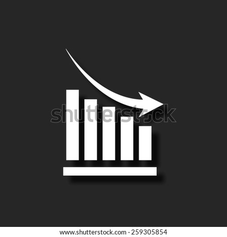 declining graph  - vector icon with shadow - stock vector