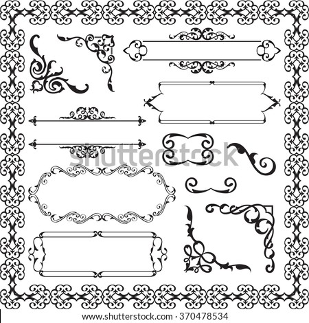 Decor ornament luxury set isolated on white - stock vector