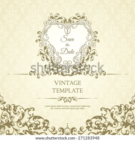Decor template with pattern and ornate frame. Ornamental lace pattern and design elements for invitation, greeting card, certificate. - stock vector