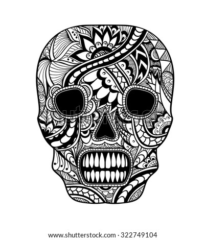 Decorate Skull painted ornament black on white for tattoo  or for decorated clothes or party of Halloween or different things - stock vector