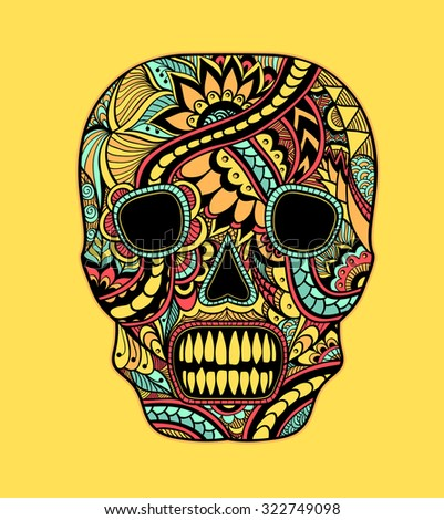 Decorate Skull painted ornament full colors on yellow for tattoo  or for decorated clothes or party of Halloween or different things - stock vector