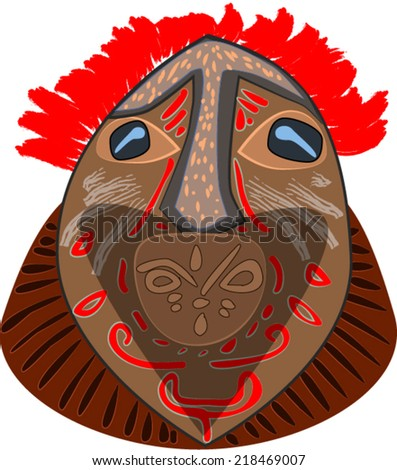 Decorated african mask with red hair