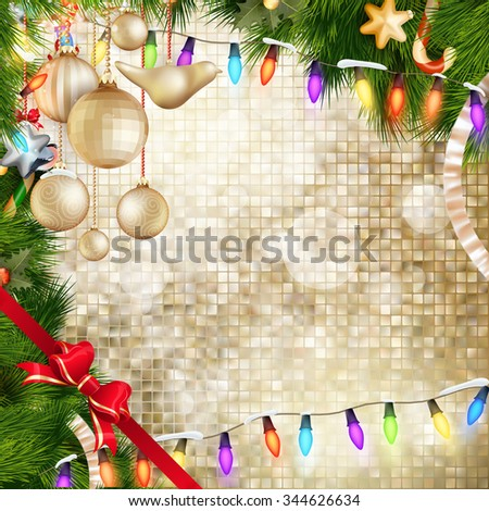 Decorated Christmas baubles on abstract background. EPS 10 vector file included - stock vector