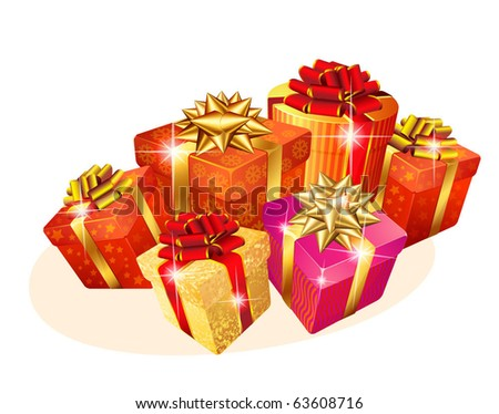 Decorated Christmas gift boxes with gold and red ribbons. Vector. - stock vector