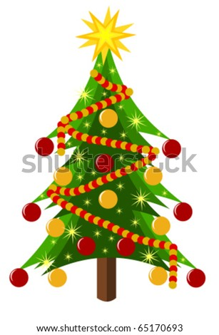 Decorated Christmas tree isolated over white. Vector illustration - stock vector