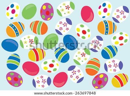 Decorated easter eggs background - stock vector