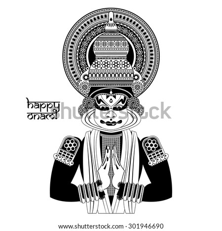 Decorated Indian Kathakali dancer. Happy Onam. Black and white. Vector illustration  - stock vector