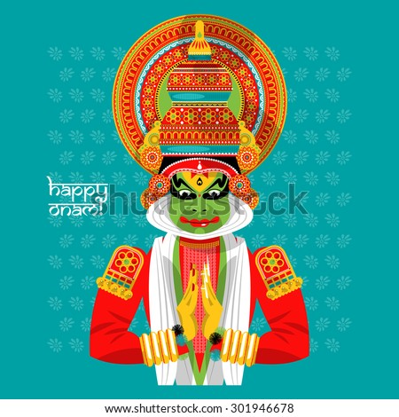 Decorated Indian Kathakali dancer. Happy Onam. Vector illustration - stock vector