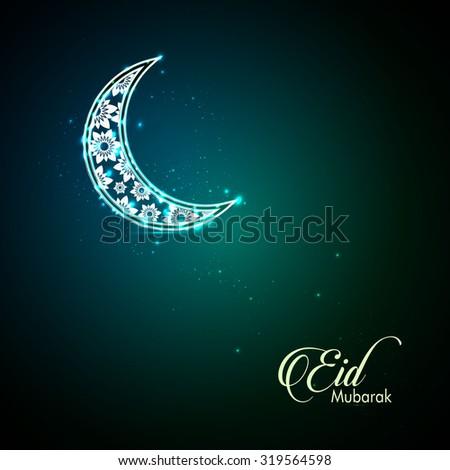 Decorated Moon Greeting card or invitation for Moslem Community events. Vector illustration. Eid Mubarak Card.  - stock vector