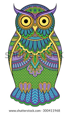 Decorated multicolor graphic owl with patterns and ornaments