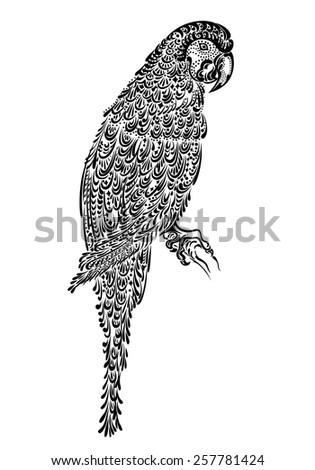 Decorated parrot bird macaw ara with ornament pattern black - stock vector