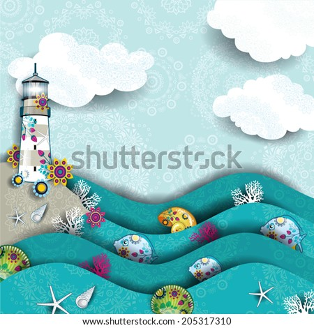 Decorated seascape with lighthouse and cliff-transparency blending effects and gradient mesh-EPS 10. - stock vector