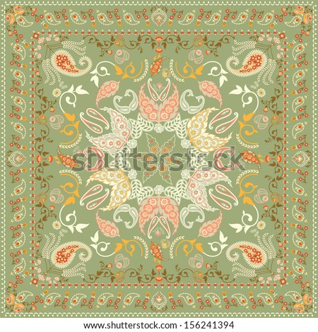 Decorated shawl design featuring paisley pattern - stock vector