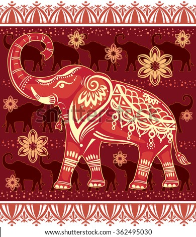 Decorated stylized elephant  - stock vector