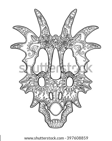 Decorated Triceratops Skull Unusual Zentangle Design For Day Of The Dead Page Adult