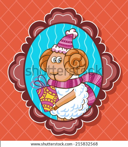 Decorated vector frame with sheep in Christmas hat.