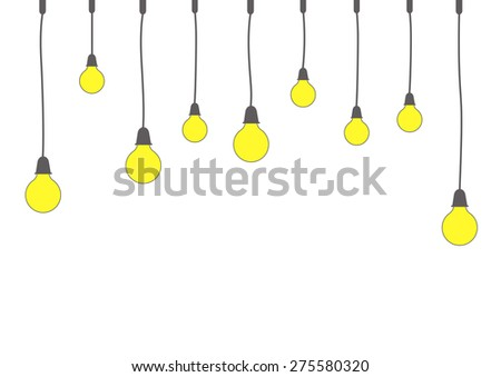 Decoration Art Of Hanging Light Bulbs, Vector Illustration