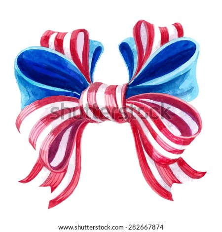 Decoration bow for usa independence day. Watercolor drawing. - stock vector