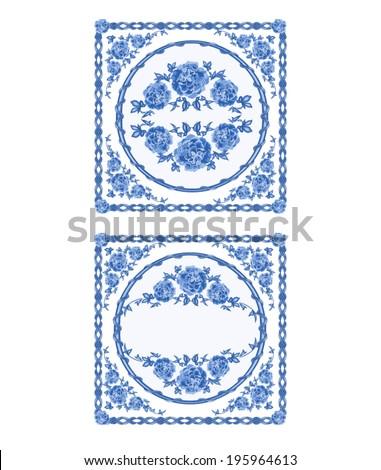decoration buton faience blue color vintage vector illustration - Faience Colore