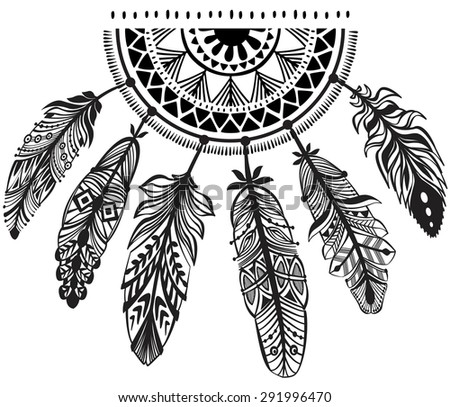 Decoration dreamcatcher in tribe style - stock vector