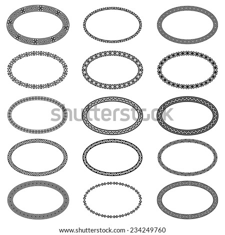 Decoration elements patterns in big pack. Mega set of 15 the most popular ellipse frames. Monochromatic ethnic oval borders in huge collection. Isolated on white background. Vector illustration  - stock vector