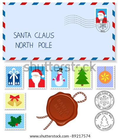 decoration elements  stamps and postage  marks for letter to santa claus - stock vector