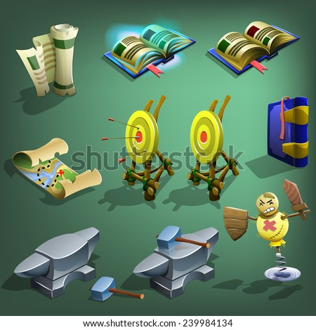 Decoration icons for games. Vector illustration. - stock vector