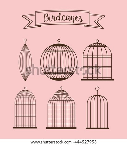 Decoration object concept represented by set of cute birdcages illustration, flat and colorfull design