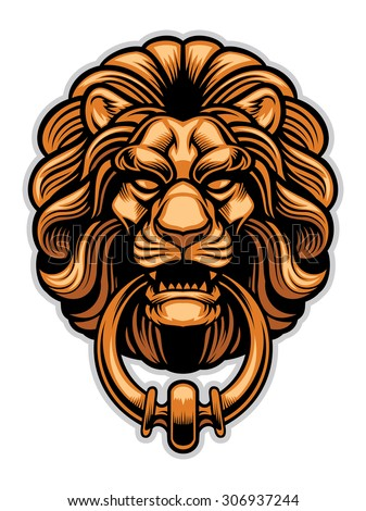 decoration of Lion door knocker - stock vector