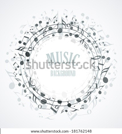 Decoration of musical notes in the shape of a circle - stock vector